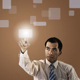 Business man pressing Royalty Free Stock Images