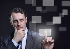 Business man pressing royalty free stock photo