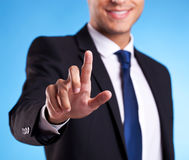 Business Man Pressing An Imaginary Button Royalty Free Stock Photography