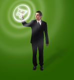 Business man pressing button Stock Image
