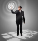 Business man pressing button Royalty Free Stock Photos