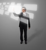 Business man pressing button Royalty Free Stock Photo