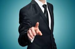 Business man pressing Stock Photo