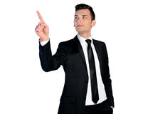 Business man pressing. Isolated business man pressing something Royalty Free Stock Photos