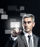 Business man pressing Royalty Free Stock Image