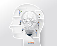 Business man process and business creative in human head concept. light bulb in human head Stock Photo