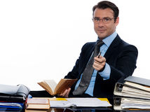 Business man professor teacher beckoning pointing Royalty Free Stock Images