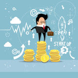 Business Man Project Successful Startup Earn Money Flying Rocket. Flat Vector Illustration Stock Images