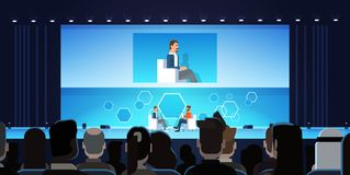 Business Man On Public Interview Conference Meeting In Front of Big Audience. Flat Vector Illustration royalty free illustration