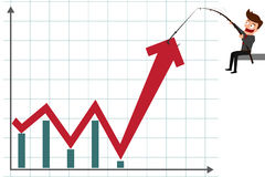 Business man pulling graph to going up growth trend. Cartoon Vector Illustration Stock Photo