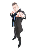 Business man punching the camera with naked fist Royalty Free Stock Photos
