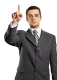 Business Man Push the Button Stock Image