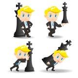 Business man push chess. Cartoon illustration set of Success and excited Business man push chess Royalty Free Stock Image