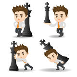 Business man push chess Royalty Free Stock Photo