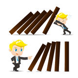 Business man push domino. Cartoon illustration set of Business man push domino Stock Photos
