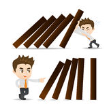 Business man push domino. Cartoon illustration set of Business man push domino Stock Images