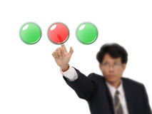 Business man push red button. Stock Photos