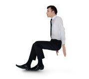 Business man push something. Isolated business man push something Royalty Free Stock Image