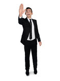 Business man push something. Isolated business man push something Royalty Free Stock Photography