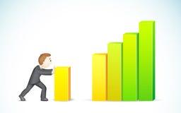 Business man pushing Bargraph. Illustration of business man pusing colorful bargraph Stock Photos