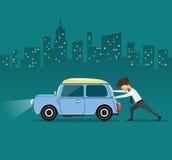 Business man pushing car, the car losing oil Stock Photo