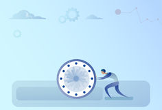 Business Man Pushing Clock Time Management Deadline Concept. Vector Illustration Stock Photography