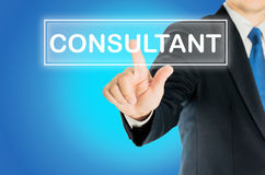 Business man is pushing CONSULTANT Stock Photography