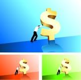 Business man pushing dollar sign uphill Stock Photo