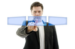 Business man pushing empty button on touch screen Stock Images