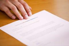 Business: Man Pushing Forward Termination Notice Stock Images