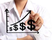 Business man pushing graph Stock Photo