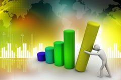 Business man pushing graph chart Stock Photography
