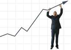 Business man pushing graph up - statistics Stock Photos