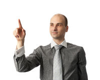 Business man pushing an imaginary button Stock Images