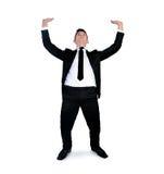 Business Man pushing nothing Stock Photo