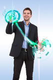 Business man pushing  progress buttons. On a touch screen interface Stock Photography