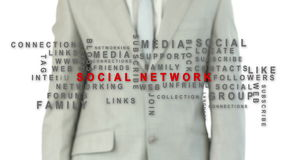Business man pushing the social network button stock video footage