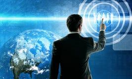 Business man pushing virtual team Royalty Free Stock Photo