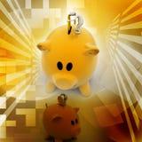 Business man put coin into piggy bank Royalty Free Stock Photos