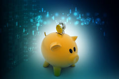 Business man put coin into piggy bank. In color background Royalty Free Stock Image