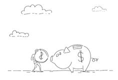 Business Man Put Coin Piggy Bank Money Investment Concept. Vector Illustration Stock Photo
