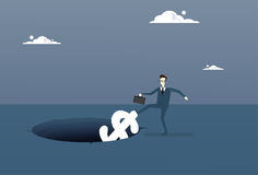 Business Man Putting Dollar In Hole Economic Fail Crisis Concept. Flat Vector Illustration Stock Photos