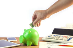 Business man putting money coin into green piggy bank, finance a. Nd investment concept Royalty Free Stock Photos