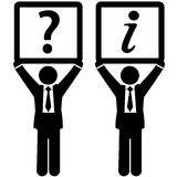Business man question answer information signs Royalty Free Stock Photography
