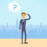 Business Man Question Mark Concept City Skyscraper Stock Photography