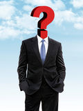 Business man with question mark instead of head. 3d illustration Stock Photo