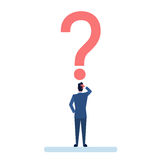 Business Man With Question Mark Pondering Problem Concept Royalty Free Stock Photos