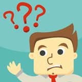 Business man on a question mark Royalty Free Stock Image