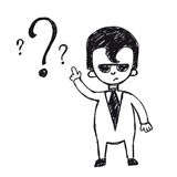 Business man on a question mark Royalty Free Stock Photo
