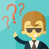 Business man on a question mark Stock Images